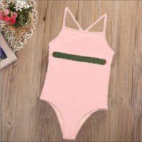 Enfants filles une pièce enfant mignon bikini de maillot de bain sans manches Lettre de maillot de bain imprimé Vêtements de mer Chidren bébé fille maillot de bain été