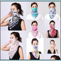 Festive Supplies Home & Gardenwomen Silk Chiffon Handkerchief Outdoor Windproof Half Face Dust-Proof Sunshade Scarf Dust Mask Party Masks Dr