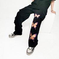 Ключевые слова на русском: хип-хоп карманы бабочка печатают случайные брюки грузовые брюки и женской уличной одежды Древесины мешковатые комбинезоны свободные черные брюки