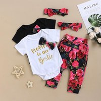 Clothing Sets 2021 Baby Summer 3Pcs Born Girl Clothes Short Sleeve Romper Floral Pants Headband Cotton Outfit For 0-18M D30