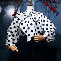 Camicette da donna Camicie Silpell Vintage Camicia Vintage Polka Dot Lace Up Bow Soffio Sleeve Sleeve Allentato Blusa Femminile 2021 Primavera Estate Coreano Top Moda