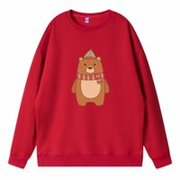Women's Hoodies & Sweatshirts 2021 Winter Kawaii Long Sleeve Sweatshirt Clothing For Girls Anime Top Bear Print Oversized Christmas Pullover