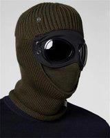 İki Lens Windbreak Hood CP Beanies Açık Pamuk Örme Erkekler Maske Casual Erkek Kafatası Kapaklar Şapka Siyah Gri