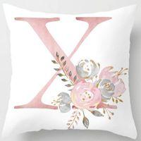 Cushion Decorative Pillow English Alphabet Cushion Cover Pink Flower Printed For Sofa Home Livingroom Kid Room Car Decoration Pillowcase