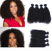 4 STÜCKE LOT MALAYAIN WINDE KINKY Curly Jungfrau Haargewebe Remy Menschliche Haarverlängerungen Natürliche Farbe Kein Abwurf Tanglefrei Kann gefärbt werden, gebleicht