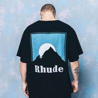 RHUDE Çeşitli T-shirt Erkek Kadın Güneş Endişeli RH Grafik Baskılı Rhude Çay Işık Büyük Boy Gömlek