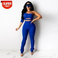 Stück Outfits # QY3F und Pants Matching Sets Frauen Ripped One Sleeve Club Party Zwei Hosenanzug Sexy Tops