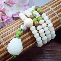 Female white jade root Buddha beads hand string Rosary Bodhi original seed Bracelet Yiwu jewelry