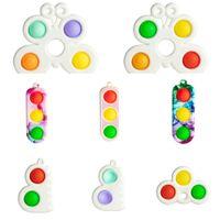 Push Finger Bubble Poppers Sensory Spielzeug Schlüsselanhänger Schmetterling Zappeln Pads Einfache Grübchen Spielzeug Anhänger Dekompression Schlüssel Ring H48Y18K