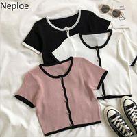 Women's T-Shirt Neploe Korean Knit Cardigan TShirts Short Sleeve Cropped Tops Woman Tees Fashion 2021 Summer Shirts Femme Patchwork T