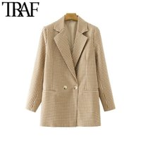 Women's Suits & Blazers TRAF Women Fashion Double Breasted Plaid Blazer Coat Vintage Long Sleeve Back Vents Female Outerwear Chic Veste