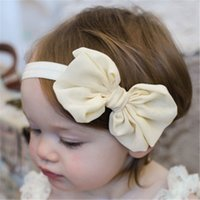 baby chiffon headbands for girls fashion hair bows kids boutique hair accessories children elastic hair bands big bowknot headwear 854 V2