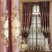 유럽 럭셔리 보라색 벨벳 두꺼운 커튼 골드 스레드 테이프 된 자수 드랩 거실 침실 사용자 정의 # 4