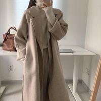 الخريف الشتاء المرأة أنيقة معطف الصوف الطويل مع حزام بلون الأكمام أنيقة قميص السيدات معطف