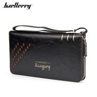 Wallets Baellerry Men High Capacity Clutch Bag Oil Wax Leather Wallet Coin Purse Male Wrist Strap