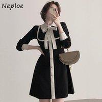 Vestidos casuales Negocio Negocio coreano elegante elegante suéter del suéter de la cintura alta cadera una línea de la rodilla longitud Vestidos girar el cuello arco de manga larga Rob