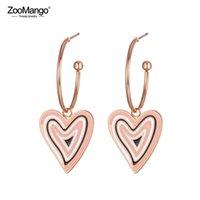 ZooMango Trendy White Black Glaze Love Heart Titanium Stainless Steel Earrings Rose Gold Handmade Ear Jewelry For Women ZE19145 Stud