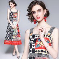 Роскошная мода взлетно-посадочная полоса напечатанный жилет платье2021 дизайнерский офис праздник выпускной элегантный квадратный шеи женские сексуальные тонкие платья a-line лето осеннее качество женская одежда