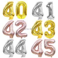 40 polegadas 40 41 42 43 44 45 Balão Rose Gold Silver Anniversary Party Decoração 40º 41º 43º 45º 45º Balões de aniversário Y0622