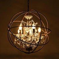 Vintage Rust Iron Cage Chandeliers E14 Big Style Crystal Lustre LED Lamp 4 5 6 Lighting Modern For Living Room Bedroom Bar