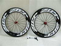 Zipp 808 Kohlefaser Clincher 88mm 3k Glossy Carbon Räder Road 3k Full Carbil Bicycle Bike-Radsatz 700C + Speichen + Hubs