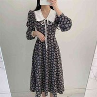 French Style Women's Spring and Summer Shirt Dress Fashion Print Retro Bow Long Sleeve Party Dress 210515