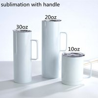 Sublimation Tumbler with handle 12  20   30 oz Blank tumblers sealed lid Stainless Steel mugs Double Wall Insulated Travel Portable Water beer tea drinking Bottles