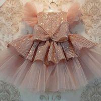 Tjejens klänningar Sequin Cake Double Baby Girl Dress 1 År Födelsedag Born Party Wedding Vestidos Chopening Ball Gown Kläder