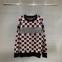 2021 Inverno Womens Maglioni Nero Bianco Rosso D-Chess Heart Double-Sided Cashmere Technical Knit e Lana Love Plaid CD