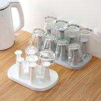 Hooks & Rails Flower Design Plastic Cup Storage Rack Holder Household Glass Mug Drain Tray Baby Feeding Bottle Stand Shelf