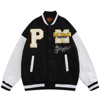 Chaquetas para hombres Hip Hop Jacket Chaqueta de béisbol Abrigo universitario Varsity letra P Bordado 2021 Moda Streetwear Bomber Flow Retro Cuero