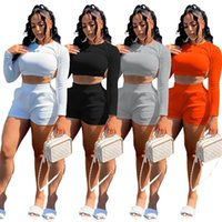Women Tracksuits 2 piece set summer fall clothes sweatsuit plain running backless t-shirt shorts sportswear pullover crop top leggings outfits vest bodysuits 01274
