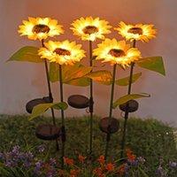 Solars Sunflower lumières Décorations de jardin Lampe de pelouse extérieure Lampe solaire LED Paysage Sunflowers Fairy Lampes Night Sea Ewc7599