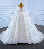 Other Wedding Dresses AOLIWEIYA Ball Gown Flare Sleeve Illusion Neckline Scalloped Floor Length Women Dress