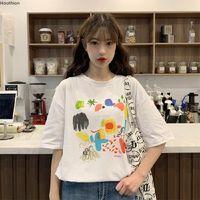 Frauen T-Shirt Houthion Print Top Plus Size Tops Lady T-shirts Mode Casual Kurzarm T Sshirt Baumwoll Tees Oansatz