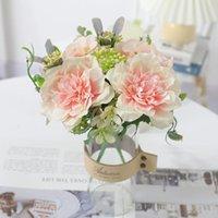 Pink Rose Artificial Flowers Silk Peony Bouquet Home Wedding Decoration Plastic Fake Flower Table Centerpieces Arrangement Decorative & Wrea
