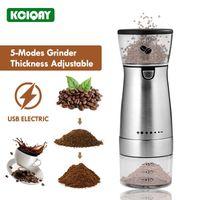 수동 커피 그라인더 USB 전기 그라인더 스테인레스 스틸 5 모드 가변 전문 콩 밀 기계 Burr 주방 도구