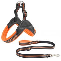 Dog Collars & Leashes Breathable Nylon Mesh Harness Reflective Adjustable And Leash Set Accessories Pet Collar For Dogs