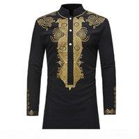Fashion Mens Hipster African Dashiki Longline T-Shirt Casual Stand Collar Long Sleeve Tshirt Men Hip Hop Streetwear Tops