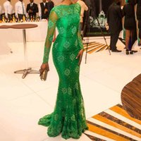 Elegant Green Mermaid Mother Of The Bride Dresses Lace Long Sleeve Women Formal Evening Gowns Wedding Guest Dress