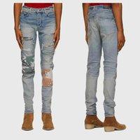 Trend Jeans Fog Designer Trendy Amir Fashion Brand Wash Blue Hole Two Color Decal High Street Slim Fitting Small Leg Jeans Men's Slp