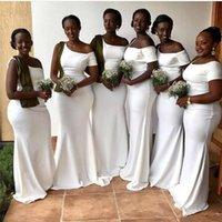 남아프리카 인어 신부 들러리 드레스 2020 화이트 우아한 하나의 어깨 짧은 소매 롱 하녀 명예 가운 플러스 사이즈