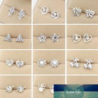 Factory s lovely 50 new fashion Style women heart crystal ear stud jewelry for charming lover earring diamante earing