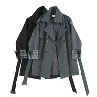 Women's Wool & Blends Jacket Women Age-reducing Windbreaker 2021 Spring Lattice Stitching Sling Small Fashionable Casual