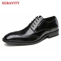 XGRAVITY Genuine Leather Round Toe Men's Shoes Carved Brogue Leisure Autumn Comfort Men Shoes Dress Business Shoes Man A165 210429