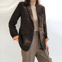 Women's Suits & Blazers Woman Plaid Wool Suit Female Autumn Winter Vintage Jacket Straight Casual Woolen Slim Blazer