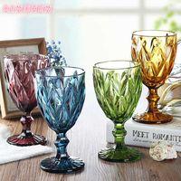 Multicolor carved glass glasses, wine glasses, whiskey, 300ml, champagne glasses, wedding parties, bars, restaurants, family tools J0525