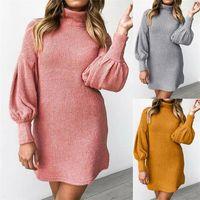 Casual Dresses Women's Autumn Dress 2021 Fashion Long Sleeve High Collar Woman Knitted Mini Elegant Party Vestido