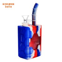 Smoke Juice Box Silicone bong water pipe dab rig oil rigs with glass bowl Silicon Hookah shisha