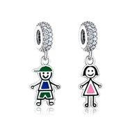 925 Sterling Silber Mädchen Junge baumeln Anhänger Perlen mit CZ Emaille Fit Original Pandora Charme Armband DIY Schmuck machen BERLOQUE